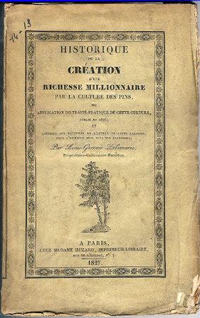 HISTORIQUE DE LA CREATION D'UNE RICHESSE MILLIONNAIRE PAR LA CULTURE DE PINS, by DELAMARRE, Louis-Gervais.