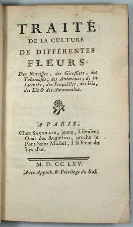 TRAITÉ DE LA CULTURE DE DIFFÉRENTES FLEURS: by (GUERNEAU DE SAINT-PERAVI, JEAN-NICOLAS- MARCELLIN)