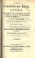 LES JARDINS DE BETZ, POÈME, by (BETZ) CÉRUTTI, Joseph Antoine.