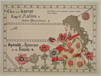 MOCK-UP FOR FLORIST OR NURSERYMAN'S AD OR LABEL. by (French Art Nouveau) (CLOS de la GAROUPE).