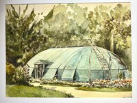 "AN UNUSUAL VIEW OF ""CLAIES"" COVERING A GLASSHOUSE. by (Greenhouses) French Watercolour."