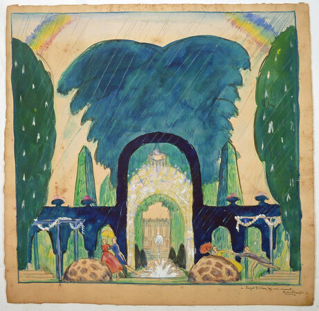 ORIGINAL DRAWING. by (Art Deco Garden Fantasy) Bonfils, Robert.