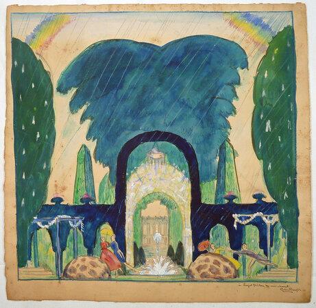 ORIGINAL DRAWING. by (Art Deco Garden Fantasy) Bonfils, Robert.
