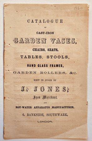 CATALOGUE OF CAST-IRON GARDEN VASES, by (JONES J.)