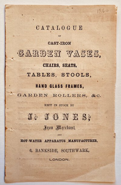 CATALOGUE OF CAST-IRON GARDEN VASES, by (Trade Catalogue - Garden Ornaments) (JONES J.)