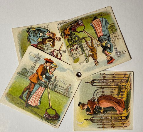 "CHROMOLITHOGRAPHED TRADE CARD ""BOOKLET"" by (Trade Card - lawnmowers, railings, pumps, wind engines) (MAST, FOOS & CO.)"